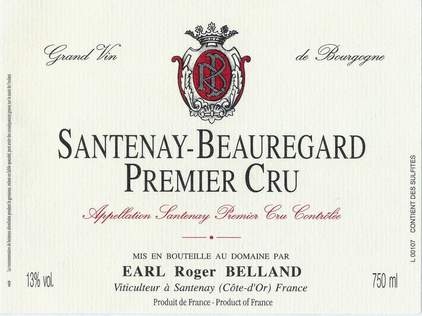 2010 Roger Belland Santenay 1er Beauregard rouge