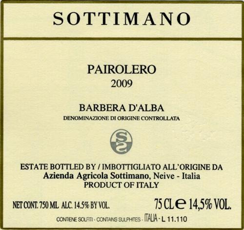 """2014 Sottimano Pairolero Barbera d""""Alba MAGNUM"""