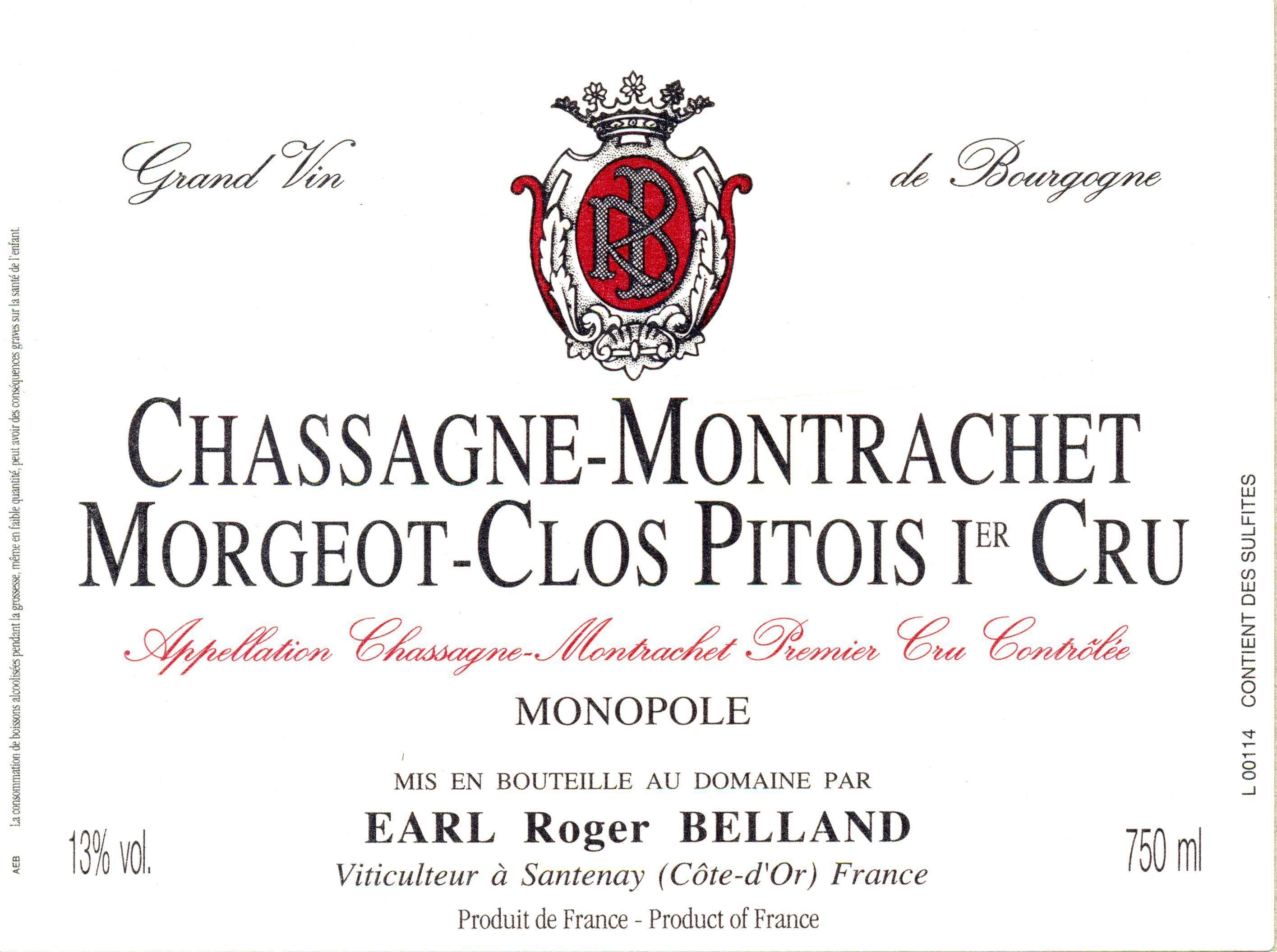 2014 Roger Belland Chassagne Montrachet 1er cru Clos Pitois rouge